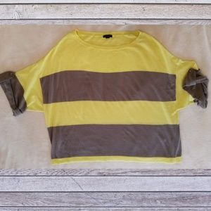 Ann Taylor Striped Crop Top with Tabbed Sleeves